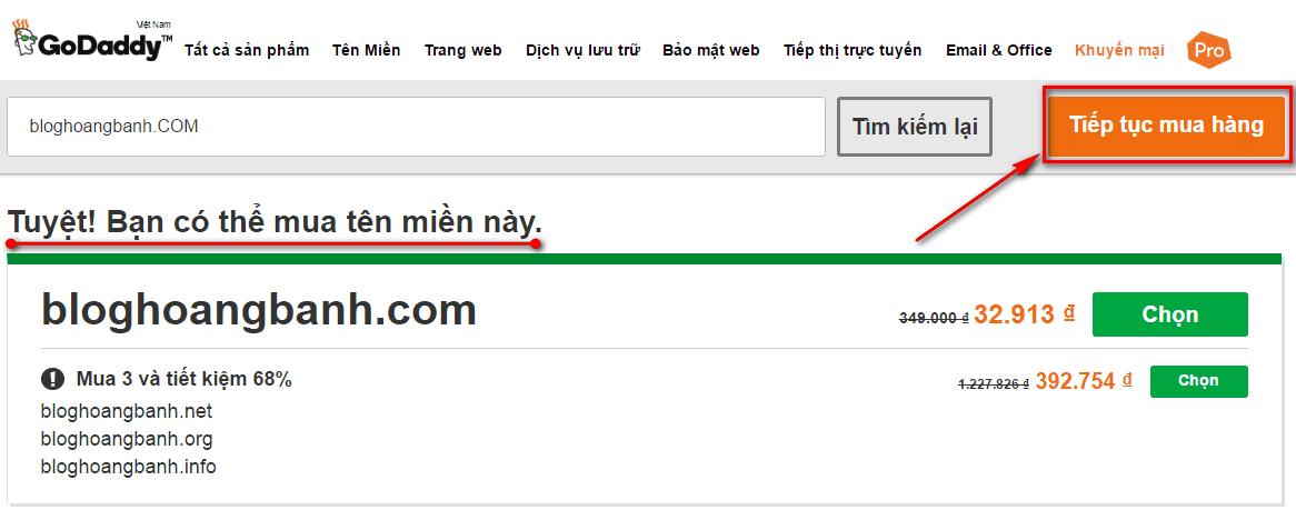 hướng dẫn mua tên miền godaddy.com